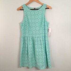 Kensie Mint Eyelet Dress